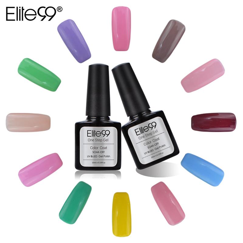 Elite99 One Step Professional Nail Gel Polish Color Glitter Soak UV Base Coat Top 10ML - Secret store