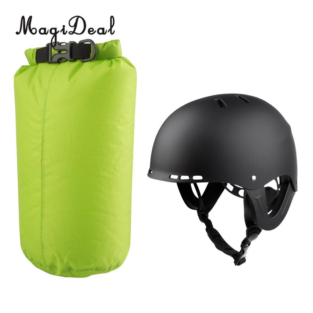 Marine Kayak Canoe Boating Helmet Safety Surf Snowboard Hat + 8L Waterproof Dry Bag Snowboarding Canoeing Rafting Boating Access