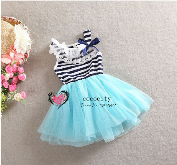 Coco City Kids Girls Princess Stripe Bow Lace dress Party Puffy Tulle Dresses child's clothes 2-7Y(China (Mainland))