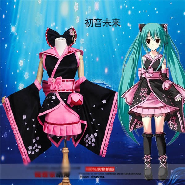Anime Vocaloid Hatsune Miku Cosplay Costume Black and Pink Kimono S-XL Free Shipping NEWОдежда и ак�е��уары<br><br><br>Aliexpress