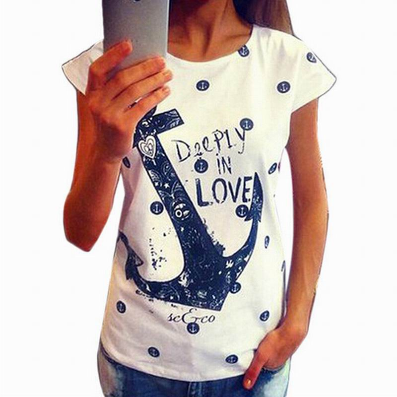 shirt letter print anchor slim cotton casual tops t shirts in t. Black Bedroom Furniture Sets. Home Design Ideas