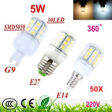 Buy 50X Free Shipping G9 E27 E14 5W 30 5050 SMD LED Light Bulb White / Warm White110V 220V Corn Light spotlight LED Lamp bulbs for $125.00 in AliExpress store