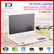 Free Shipping 14 Inch Laptop Notebook Computer, Intel Celeron J1800 Dual Core 2.41-2.58GHz, 2GB+640GB, WIFI, Webcam, Mini HDMI(Hong Kong)