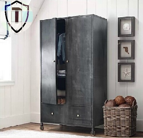 french industrial loft kannawa iron wardrobe cabinet large wardrobe closet iron metal bookcase. Black Bedroom Furniture Sets. Home Design Ideas