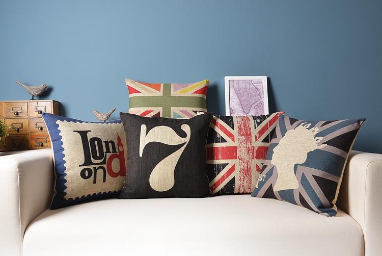 England Tour Nordic modern creative Linen pillow cotton cushion Square Home Decor sofa cushions