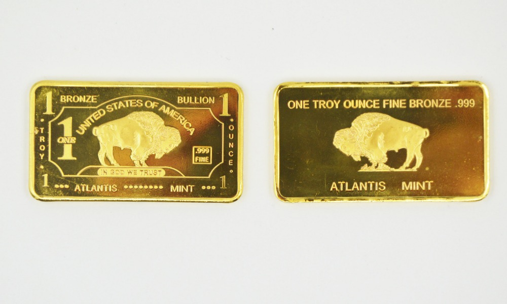 Best Gifts 1 Troy Ounce Fine Metal Decoration Gold Coin/Bars American Buffalo Metal Gold Bar Atlantis Mint Souvenir Gold Bars(China (Mainland))