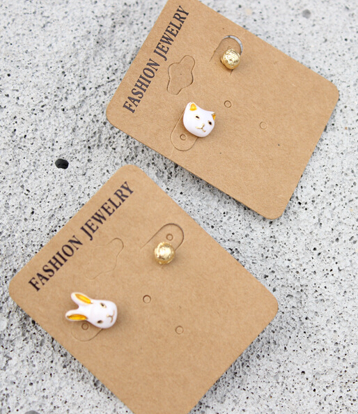 Free shipping Cute White Rabbit Cat Pearl Stud Earrings Wholesale(China (Mainland))