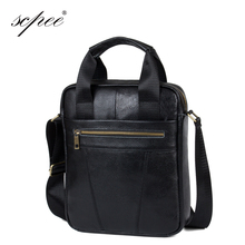 SCPEE New Fashion 100% Leather Men's Briefcase Handbag Shoulder Bag Messenger Bag Promotional Price Free Shipping(China (Mainland))
