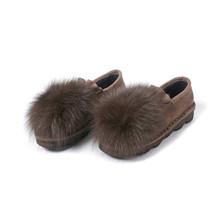 MLJUESE 2018 phụ nữ dẹt thỏ tóc đen màu kid da lộn lông vòng toe xuân mùa đông thoải mái căn hộ ấm áp giày thuyền(China)
