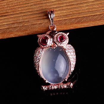 Owl necklace Pendant GVBORI red Tourmaline large moonstone jewelry Women Wedding Gift Fine Jewelry Valentine