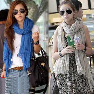 Fashion Neckerchief Scarf Women Winter Shawls Cotton All-match Fold Scarves Wraps Super Long Scarfs(China (Mainland))