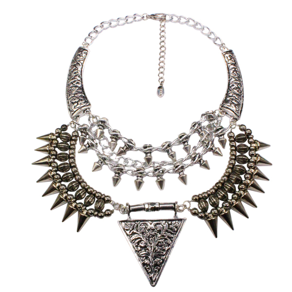 Comiya Brand New Summer style necklace from India Silver Color Alloy Exaggerate Spike Punk Rivet Triangle Necklaces for women(China (Mainland))