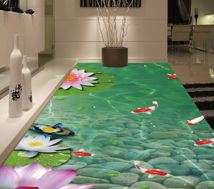 Custom PVC wallpaper photo wallpaper 3 d beautiful pond lotus carp image floor wallpaper(China (Mainland))