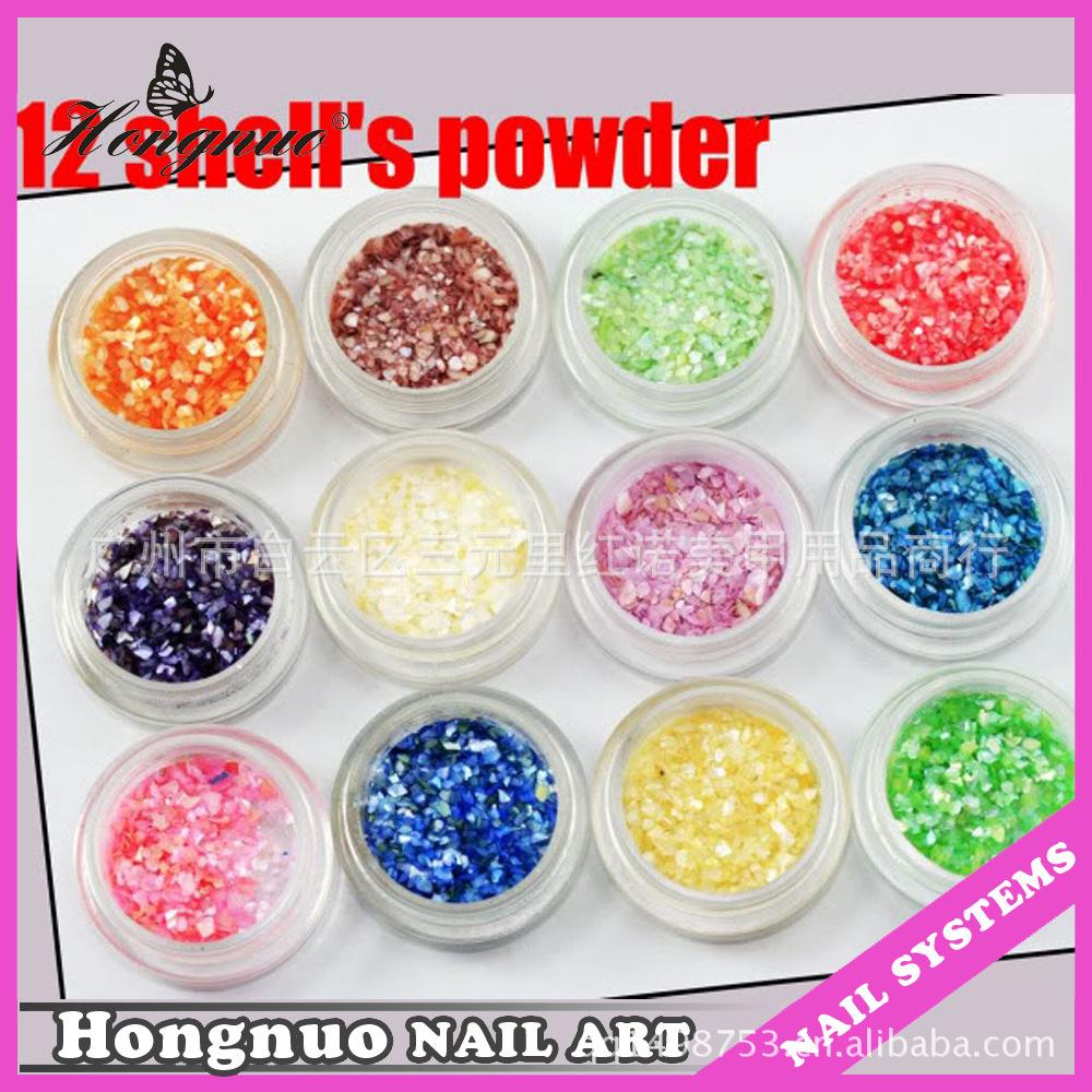 free shipping+5X12Color/set nail art shell powder/ Acrylic UV Gel NAIL ART CRUSHED SHELL Glitter powder Decoration Design(China (Mainland))