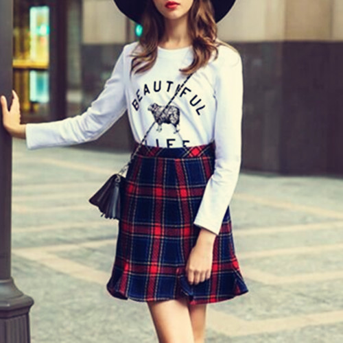 European stations new 2016 women s package hip Slim waist fishtail skirts CHICING Vintage Plaid Woolen