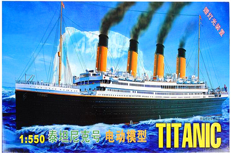 1/550 Scale Titanic ship building model kits with Electric motor and night light 40cm length hobby kits ship set toy friend gift(China (Mainland))