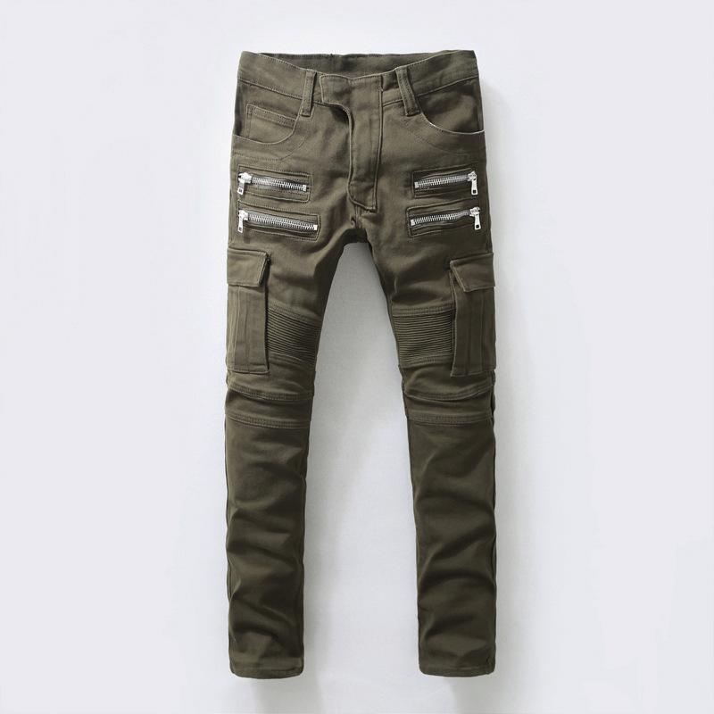 Army Green Men's Skinny jeans Slim Fit Double Side Pockets Jeans Zipper Design Denim Biker Hiphop Washed Pant Big 29-40