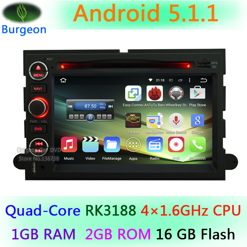 HD 1024*600 Quad Core Android 5.1.1 Car DVD Player For Ford Fusion Explorer 500 F150 F250 F350 F450 F550 Focus GPS Stereo Radio(China (Mainland))