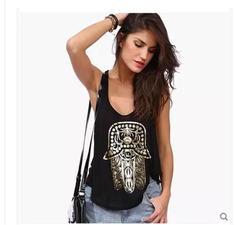 Priting Women Tank Top Vest Printed Shirt Sexy Loose Black Tank Tops Cotton Casual Ladies Tank Top Sport Wear#YNQ2036(China (Mainland))