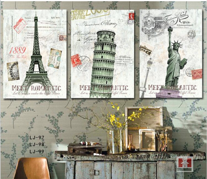 3 Piece Home Decor Wall Art Canvas Painting Europe Classic Building City Paris Ital New York Art Pictures Printed Decal No Frame(China (Mainland))