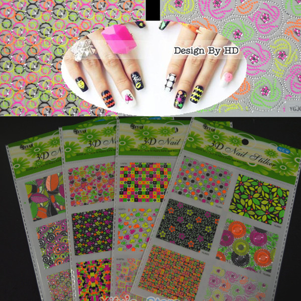 4Sets NEW 2015 Glitter Colorful Artistical Design 3D Nail Stickers Art Decorations Decals Beauty Tool MS29 - & Salon store