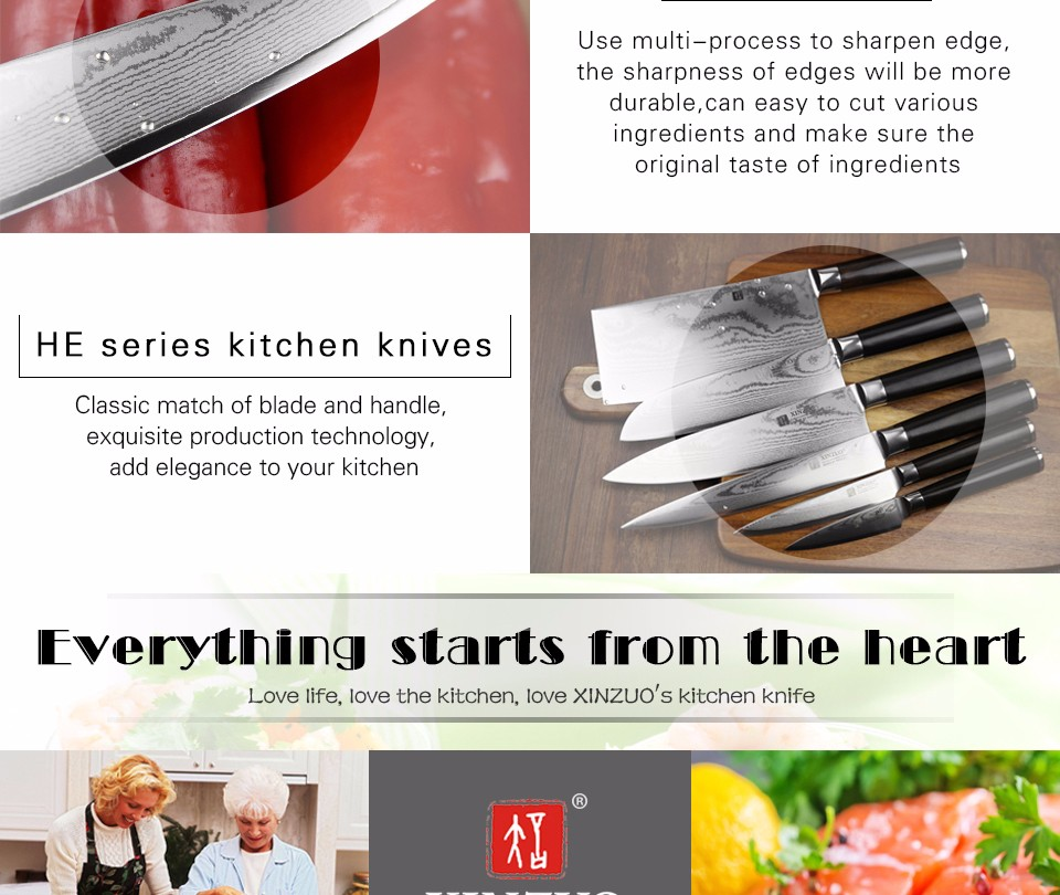 Buy XINZUO 5 pcs kitchen knife set paring utility cleaver Damascus Chef knife Japanese VG10 steel Kitchen Knife sharp free shipping cheap