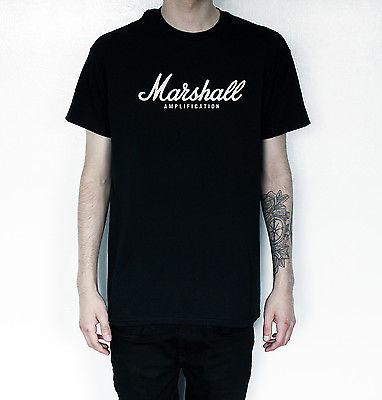New Mens or Womens MARSHALL Amps Amplifiers Amplification Guitar logo T-Shirt Free Shipping(China (Mainland))