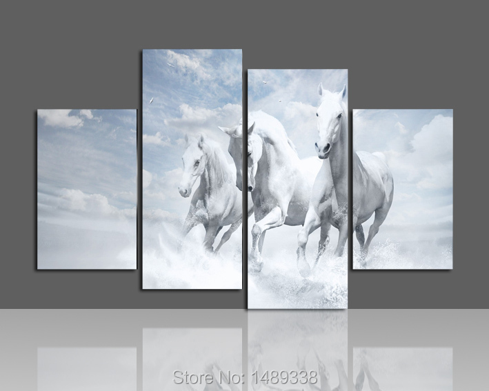 Free shipping Animal horse Oil Painting Printing painting on canvas For Living Room Wall Art 5pcs/set Framed F/381(China (Mainland))
