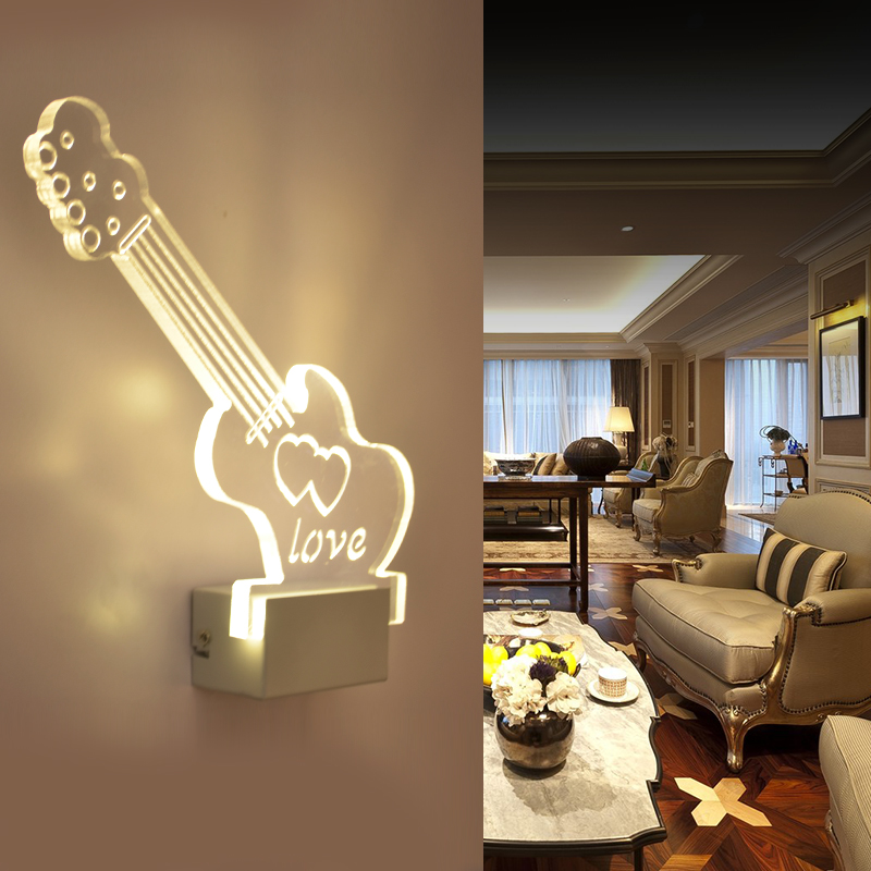 Acrylic wall lights modern brief living room lights wall lamp corridor wall lamp led wall lamp guitar(China (Mainland))