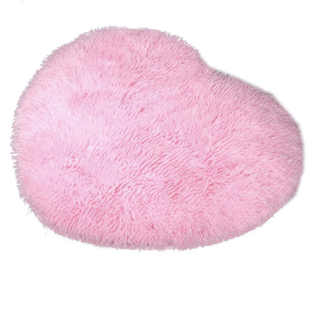 50cm X 60 Cm Soft Heart Design Fluffy Mat Rug Faux Fur
