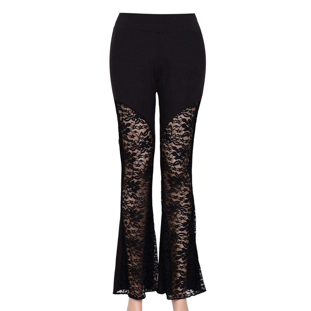 Vagary New Sexy Crochet Lace Pants Women Slim Black Bell Bottom Vintage Hollow Out Trousers Flare Pants(China (Mainland))