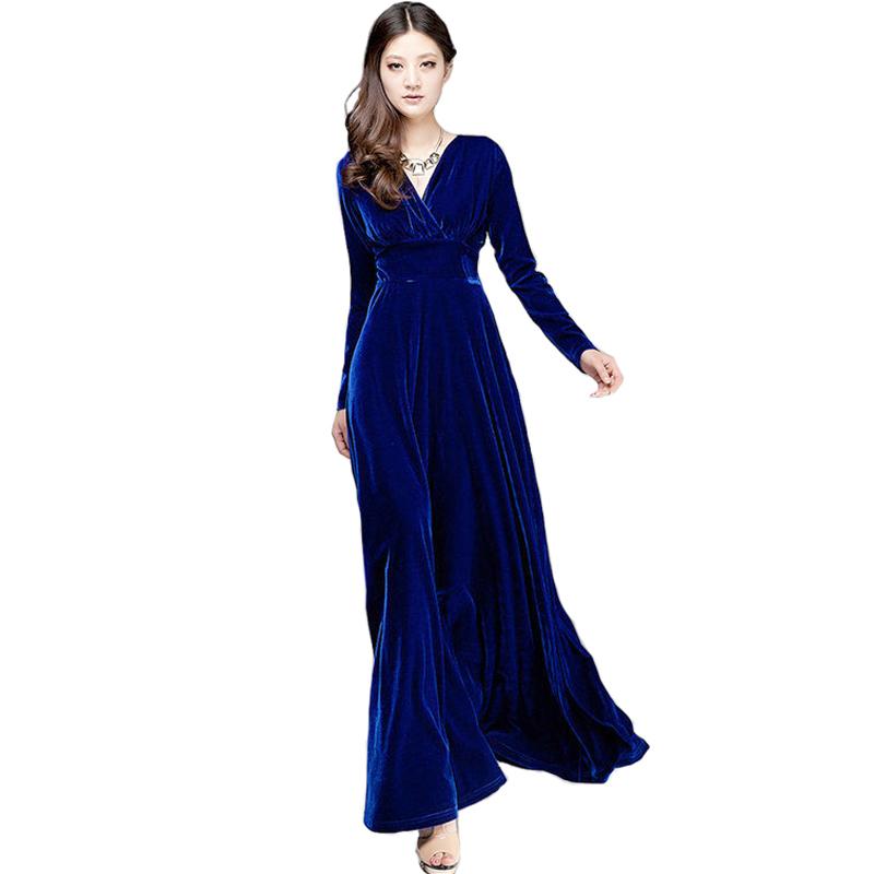Long Dres Plus Size S~3XL Women Winter Dresses Long Sleeve V Neck Maxi Dress Velour Women Sexy Dresses Party Night Club Dress(China (Mainland))