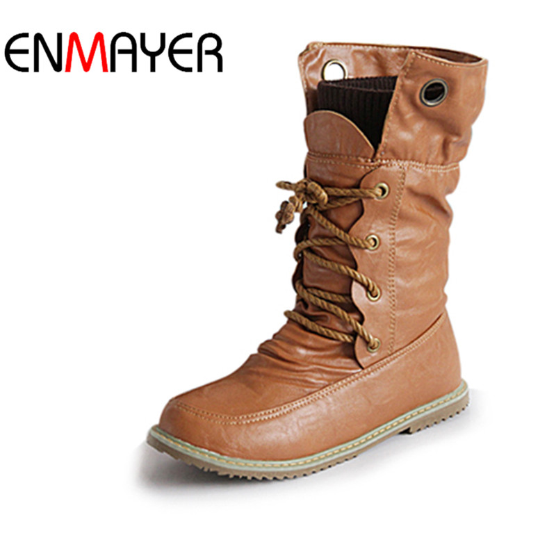 ENMAYER Fashion Motorcycle Martin Boots for Women Winter Snow Boots PU Leather Flats Boots Shoes Plus Size 43 Shoes Women Boots(China (Mainland))