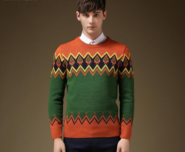 Men 39 s sweaters2015autumn men 39 s plaid brand pullover for European mens dress shirts