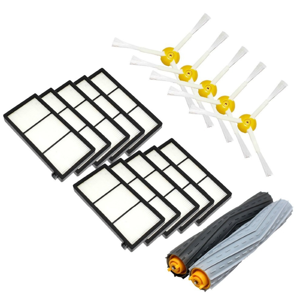 1 Tangle-Free Debris Extractor Set & 5 Side Brushes & 10 Hepa Filter For iRobot Roomba 800 series 870 880 Vacuum Cleaning Robots(China (Mainland))
