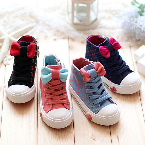 Cute Bowtie Children Shoes Girls Shoes High Quality Children Canvas Shoes Breathable Casual Sneakers Fashion Kids Sneakers(China (Mainland))