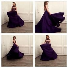 E-Marry In Fashion Scoop Heavy Beading Sexy Backless Thick Satin Long Formal Dress Evening Gowns Lady Party Dress Purple(China (Mainland))