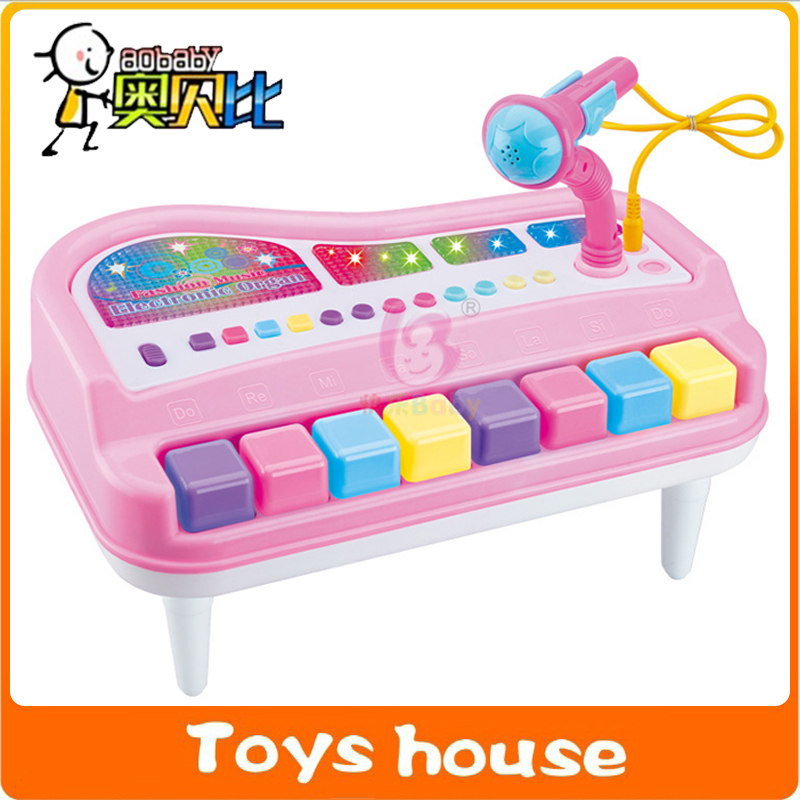 Organ Fanny Musical Piano With Microphone Children Educational Toy Baby Intelligence Toy(China (Mainland))