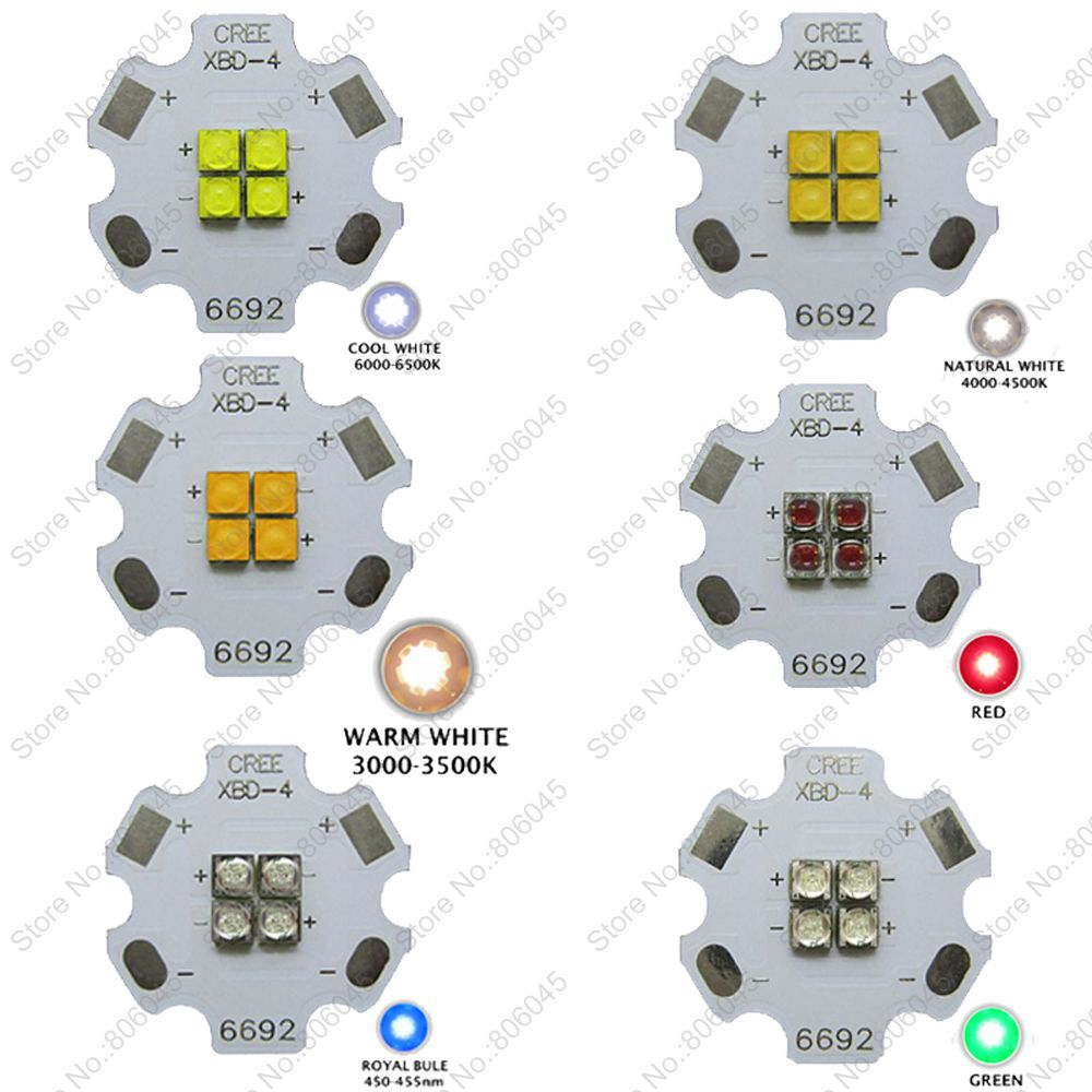 10pcs Cree XBD XB-D 12V 4Chip 4LEDs Cool White Warm White Neutral White Red Green Royal Blue Colors High Power LED Light Emitter(China (Mainland))