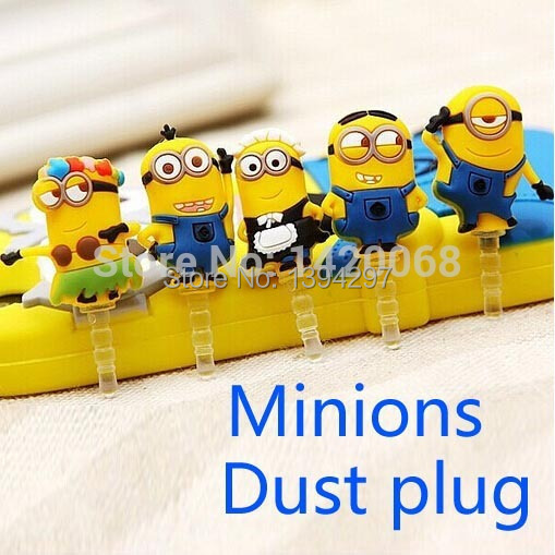 3.5mm Despicable Me Cute Minions Dust Plug for iphone/Samsung/iPad dustproof Mobile Phone Accessories SJZB001 Z(China (Mainland))