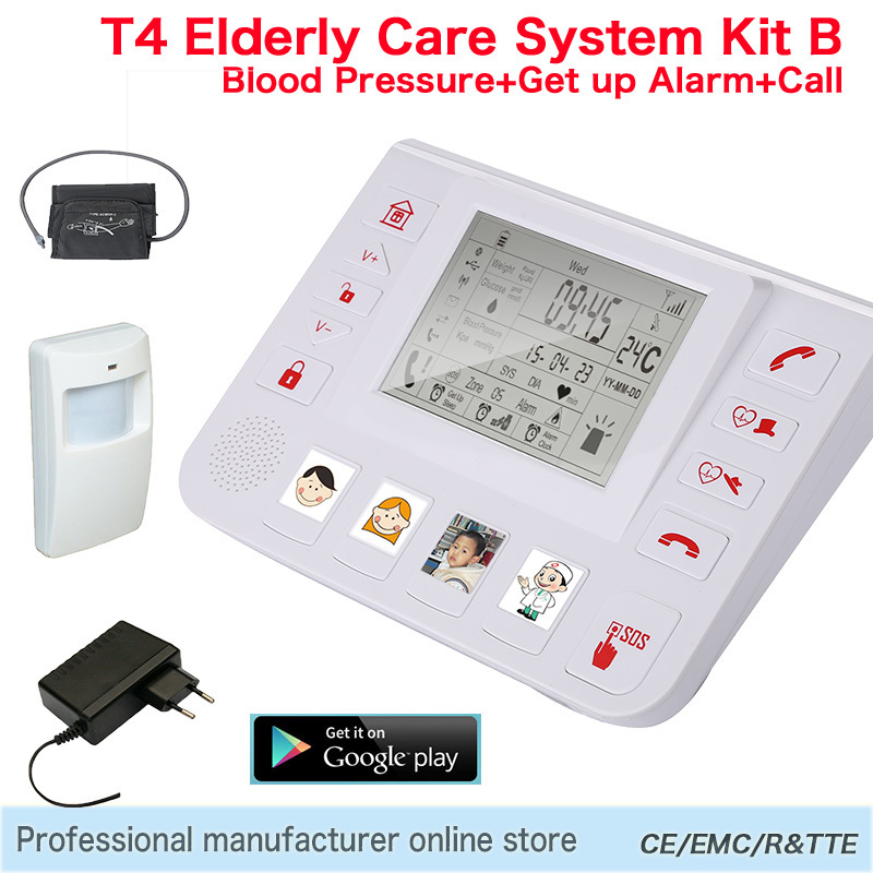 GPRS GSM 3G Emergency Alarm Telecare Helper System SMS For Blood Pressure Monitor With Android APP King Pigeon T4 Kit B(Hong Kong)