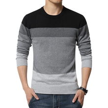 Men's sweaters 2016 winter new men Slim thick round neck sweater Fashion stripes stitching large size men's warm shirt(China (Mainland))