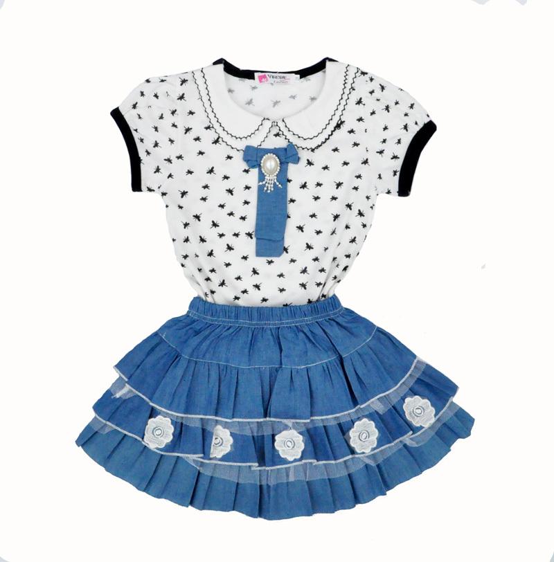 Trajes De Baño Estilo Falda: estilo niños ropa impresión de la libélula camiseta + falda vaquera