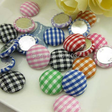 Sewing Buttons 15mm 100pcs Cloth Covered Buttons for Bag/Hair Bows Round Cotton Kawaii Fabric Grid Printed Button Flatback Mixed
