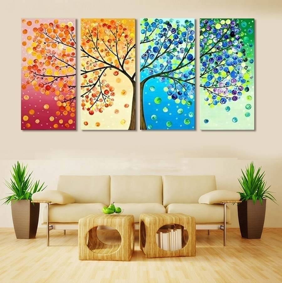 4 piece frameless colourful leaf trees canvas painting for Room decor wall art