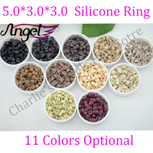 Charlie's Angels 5000pcs/lot 5.0mm*3.0mm*3.0mm Micro Silicone Ring/Links/Beads For Hair Extensions, 11 Colors Optional(China (Mainland))