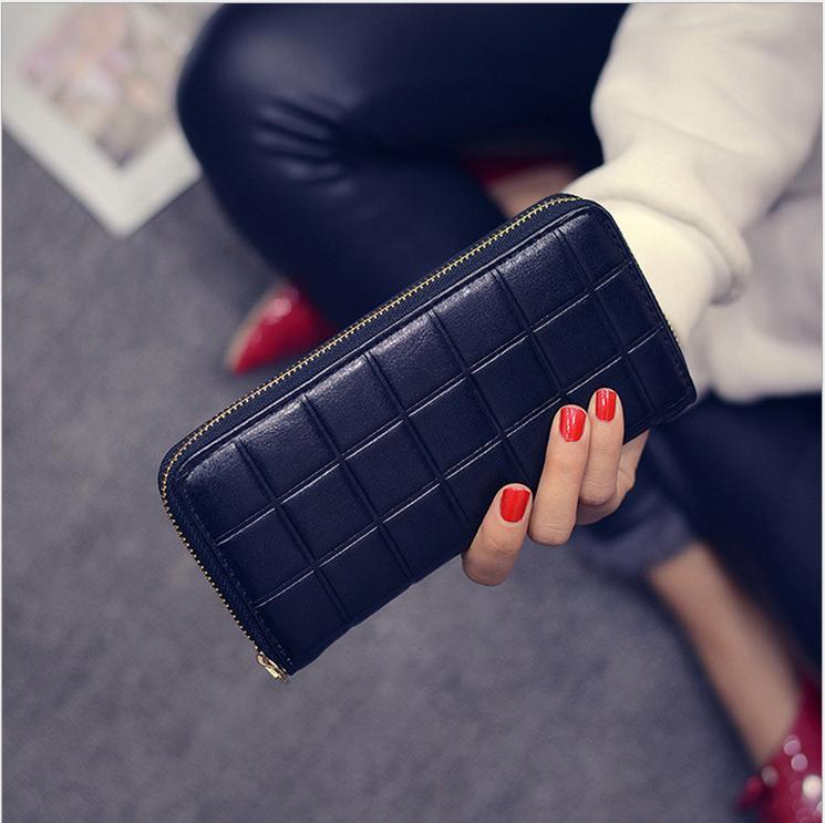 New 2016 Fashion Women PU Leather Wallet Women Wallets Famous Brands Zipper Long grid Hand Bag purse portefeuille femme<br><br>Aliexpress