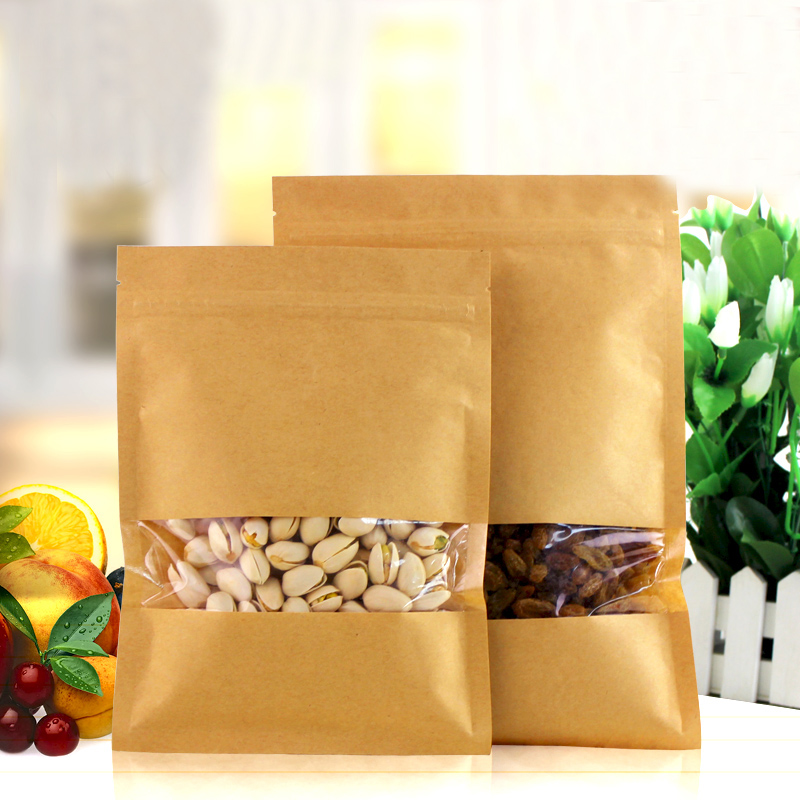 100pcs/lot 18cm*26cm*140mic High Quality Food Grade Bag Heat Seal Nuts Packaging Kraft Paper Food Storage Bags(China (Mainland))