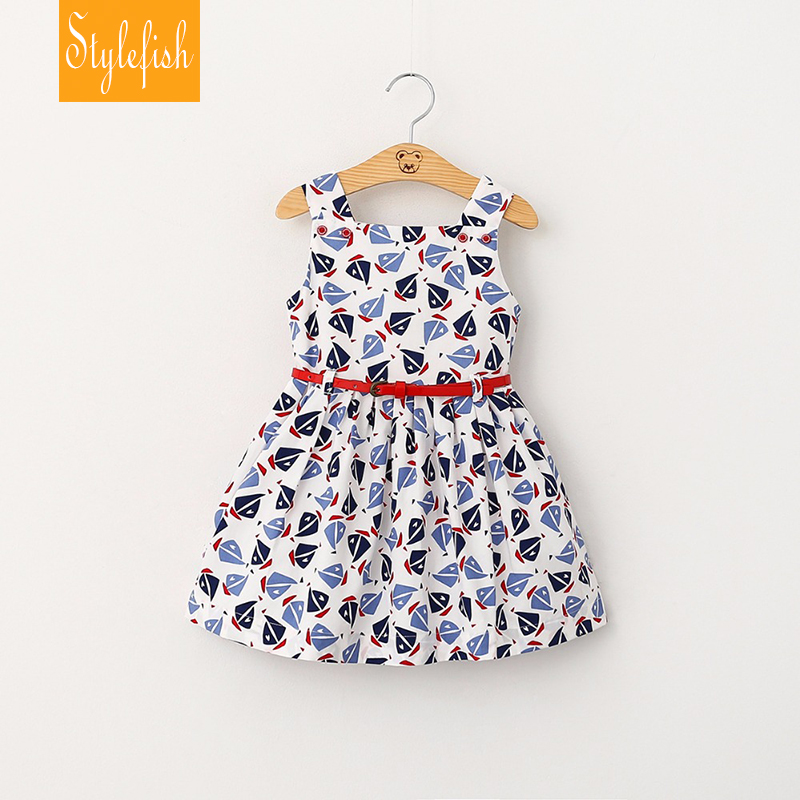 2016 Summer New European Style Pleated Cotton Children's Clothing Princess Dress Printing Small Sailboat Double Belt Girls Dress(China (Mainland))
