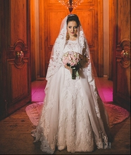 Buy 2 Two Piece Detachable Long Sleeve Muslim Wedding Dress Mermaid Removable Skirt Bridal Bride Shoulder Wedding Gowns for $210.04 in AliExpress store